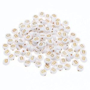 CHONGAI 100 шт акриловые бусины с буквенным принтом, один алфавит, белое золото, Круглый браслет с буквенным принтом, ювелирные изделия, бусины и ювелирные изделия, 4*7 мм