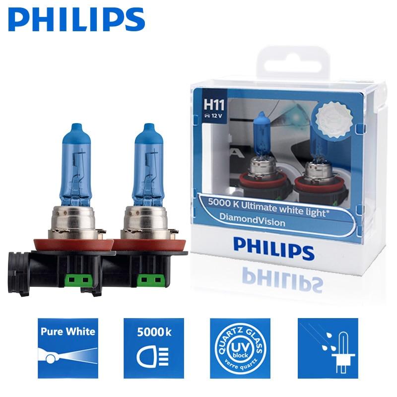 2X Philips H11 12V 55W Diamond Vision 5000K супер белый светильник галогенные лампы Авто головной светильник Противотуманные фары 12362DVS2