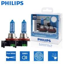 2x philips h11 12v 55w diamante visão 5000k super branco lâmpadas de halogéneo faróis de nevoeiro 12362dvs2