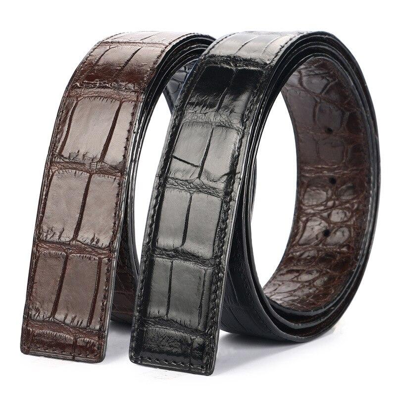 Double face concepteur authentique peau de ventre de Crocodile réel mâle noir ceinture sans boucle véritable Alligator cuir ceintures pour hommes