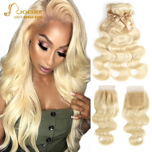 Image 1 - 613 Honey Blonde bundles with closure Brazilian Body Wave Human Hair Weave Bundles With Closure Lace Closure With Bundles Joedir
