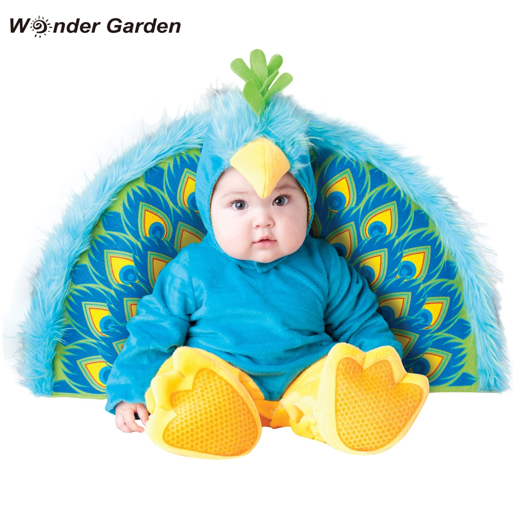 Wonder Garden Infant Toddler Baby Girls Boys Peacock Animal Halloween Cosplay Costume Purim Holiday Costume Rompers     - title=