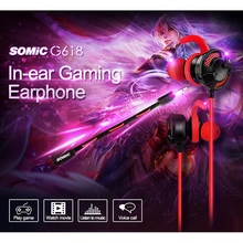 Gaming Earphones Somic Wired-Headset In-Ear with for Computer Laptop G618 Pad