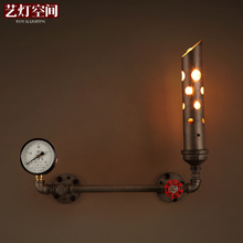 Industrial Age Black  Loft  Cafe Lamp Water Pipe Wall Light Art Wall Lamp for Dining Room Bar Decro Free Shipping loft style clear glass wall lamp black metal glass ball wall light bedroom light dining room light free shipping