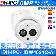 Dahua IPC-HDW4631C-A 6MP Hd Poe Netwerk Mini Dome Ip Camera Metal Case Ingebouwde Microfoon Cctv Camera 30M ir Dahua IK10 HDW4631C-A(China)