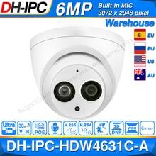 Dahua IPC HDW4631C A 6MP HD POE réseau Mini dôme IP caméra boîtier en métal intégré micro caméra de vidéosurveillance 30M IR Dahua IK10 HDW4631C A