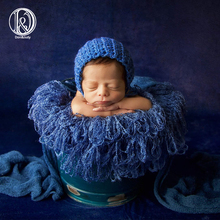 D&J Hand Crochet Blanket Fringe Newborn Baby Photo Prop Photography Basket Filler Stuffer Rug Mat