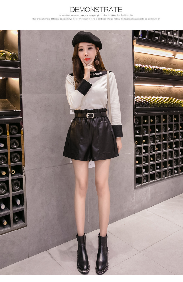 Elegant Leather Shorts Fashion High Waist Shorts Girls A-line  Bottoms Wide-legged Shorts Autumn Winter Women 6312 50 45