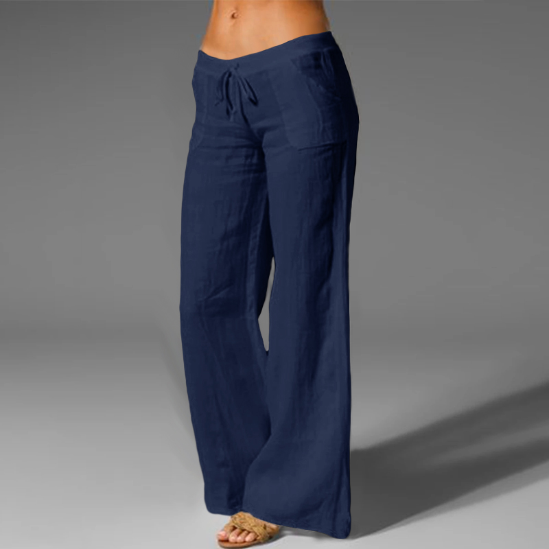 Oversized Trouser Celmia Women Vintage Linen Palazzo Fashion Long Wide Leg Pants Casual Elastic Waist Solid Loose Pantalon Femme 3