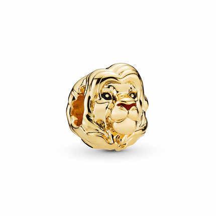 Btuamb באיכות גבוהה זהב צבע פשוט סגסוגת האריה מלך חרוזים Fit פנדורה קסמי צמידי לנשים DIY תכשיטי תכשיט