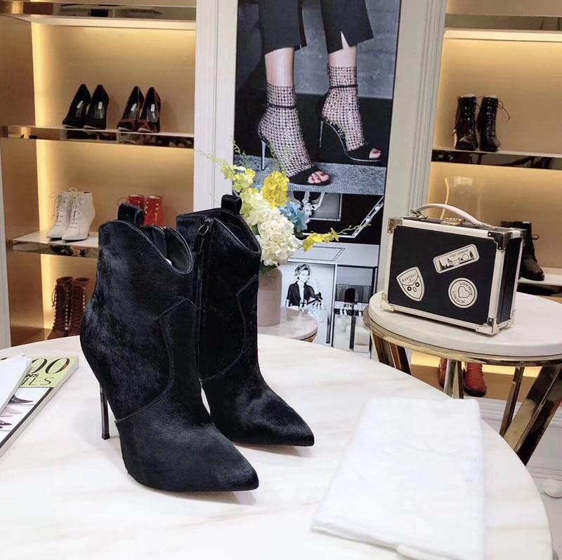 Г., ботильоны из конского волоса и коровьей кожи Зимняя обувь из натуральной кожи женские ковбойские ботинки на высоком каблуке-шпильке без застежки - Цвет: Черный