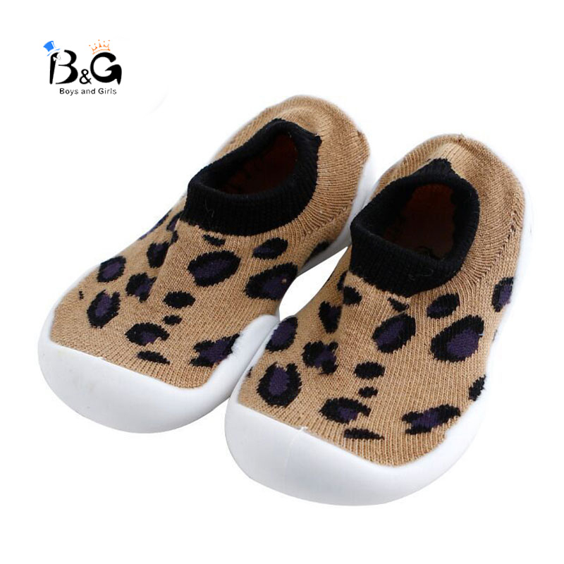 B&G Baby Shoes Soft Cotton Floor Socks Kids Shoes Leopard Print Toddler Shoes Non-slip First Walkers