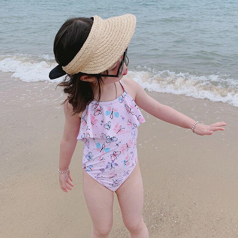 New Style Korean-style KID'S Swimwear Baby Girls One-piece Briefs Cartoon Butterfly Cross-Strap Lotus Leaf GIRL'S Swimsuit