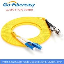 Cable de parche de fibra óptica LC ST OS1, Cable de conexión de fibra dúplex de modo único, Cable de puente óptico de LC ST de PVC fibra UPC de 3 metros y 3,0mm