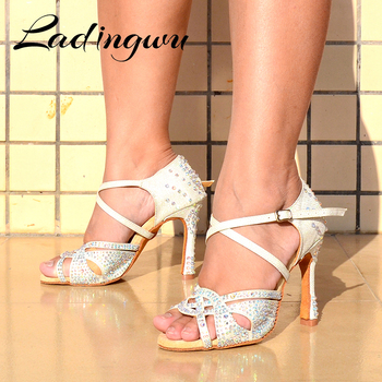 Ladingwu Women's Latin Dance Shoes Rhinestone Ballroom Dance Shoes White Flash Cloth  Party Square Dance Shoes Cuba Heel 10cm free shipping suphini customized salsa dance shoes special lady ballroom latin dance shoes