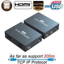 Extender KVM di rete IP 200m USB HDMI supporto HDMI Loop Out HDMI KVM Extender su tcp/IP da RJ45 UTP/STP KVM Extender CAT5 CAT6