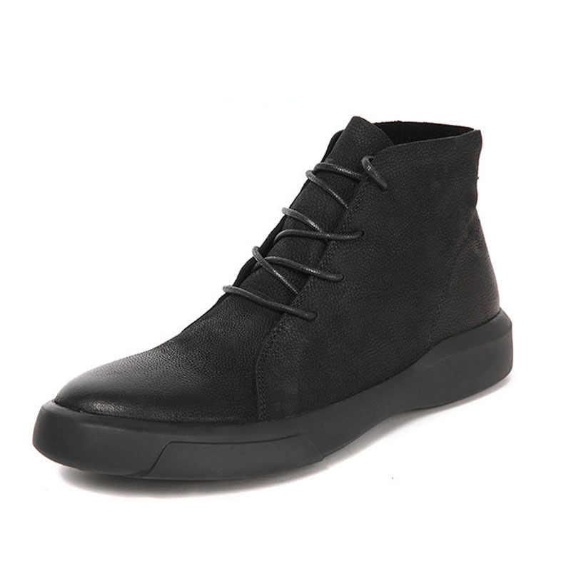Europäischen Winter Fleece Futter Aus Echtem Leder Top Mens Casual Schuhe Punk Runde Kappe Plattform Männlichen High Street Schuhe Schuhe