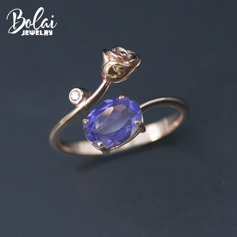 Bolai 1.2 carats nano tanzanite rose ring solid 925 sterling silver created blue gemstone fine jewelry for women girlfriend gift