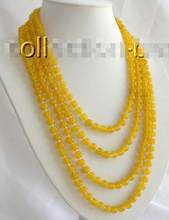"Free Shipping >>stunning long 100"" 8mm round yellow natural stone necklace m554(China)"