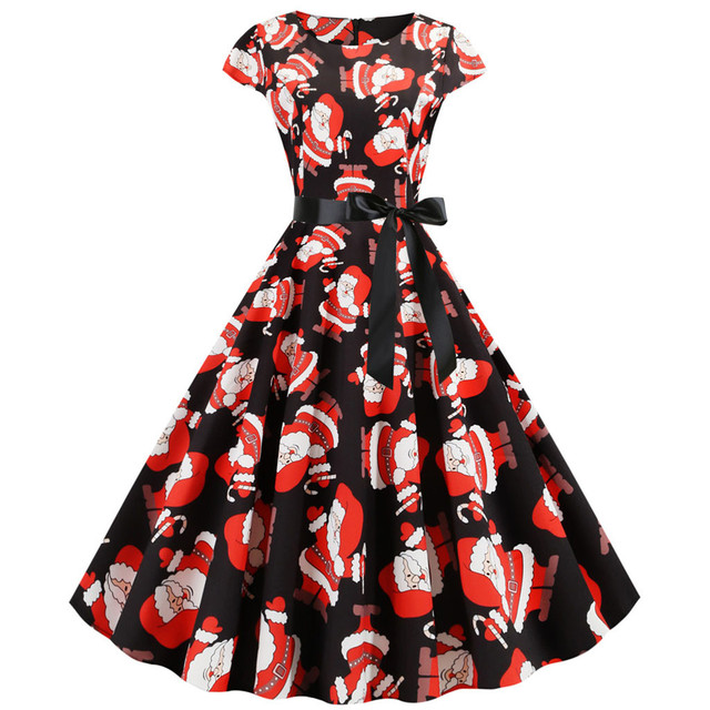 Autumn Winter Christmas Dress New Year Festival Women Vintage Short Sleeve Christmas 1950s Housewife Party Dress Vestido Women