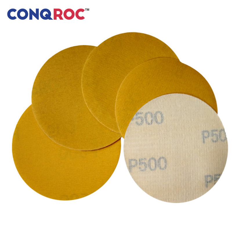50 Pieces 75mm 3-inch Dry Sanding Discs Yellow Sanding Paper Hook And Loop Sandpaper For Wood Car Metal Polishing