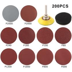 200pcs 2inch Sandpaper Sanding Discs Pad 80-3000 Grits Polishing Discs Wheel Polishing Sharpening Sand Paper Tool Accessories