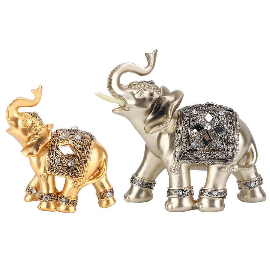 2 Size Elephant Ornament Golden Color Resin Elegant Elephant Trunk Statue Wealth Lucky Figurine Home Decoration Gift