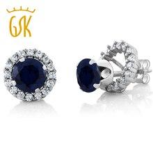 GemStoneKing 2,00 Ct круглые натуральные серьги с голубым сапфиром для женщин 925 пробы серебряные серьги-гвоздики с драгоценными камнями