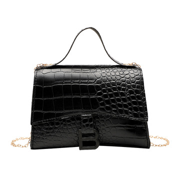 Hot Sale New Women Bags Fashion Crocodile Pattern Shoulder Bag PU Solid Color Small Square handbags for women 2020 image