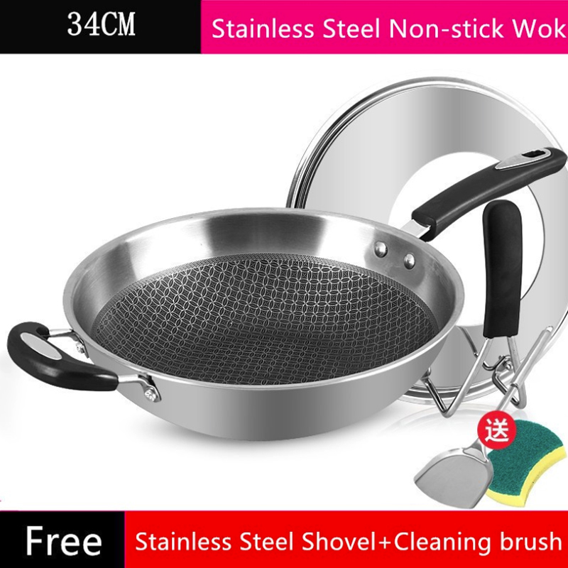 304 Stainless Steel Frying Pan Non Slip Spatula Kitchen Food Fried Egg Smokeless Wok for Cookware Cooking Pot Pancake