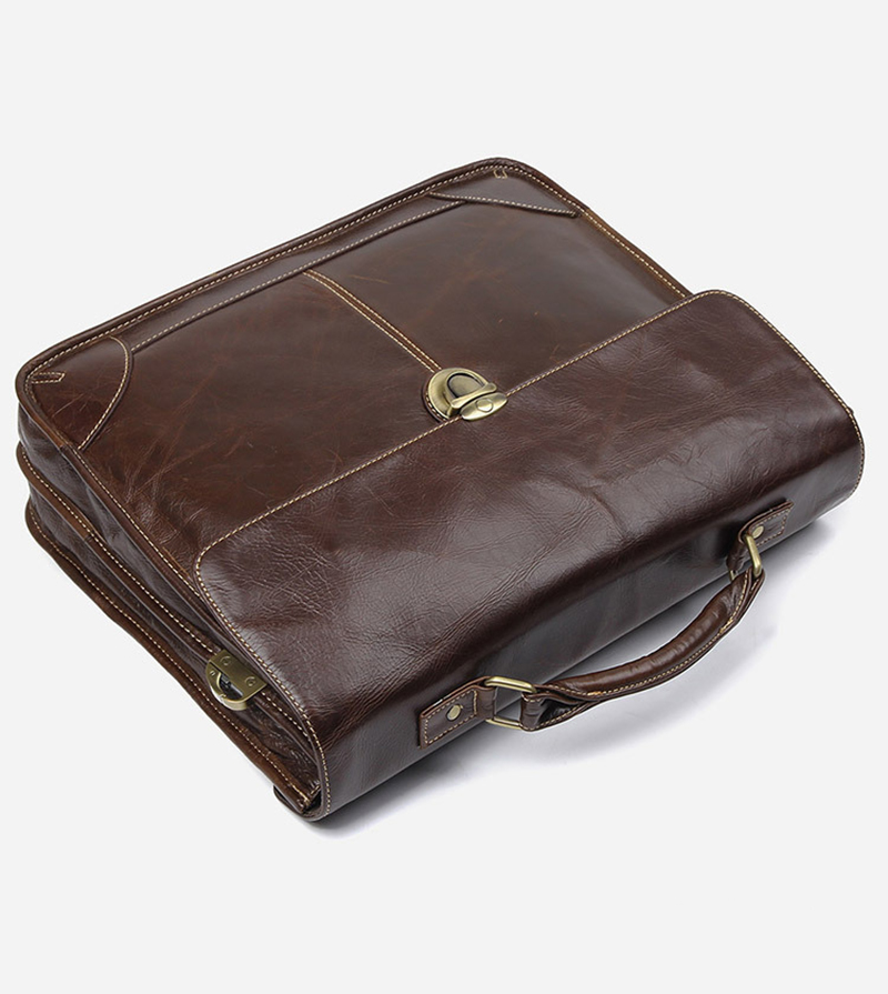 """H9de8d59cede445779e7aa30a9b9b22baK Men's genuine leather briefcase 16"""" Big real leather laptop tote bag Cow leather business bag double layer messenger bag"""