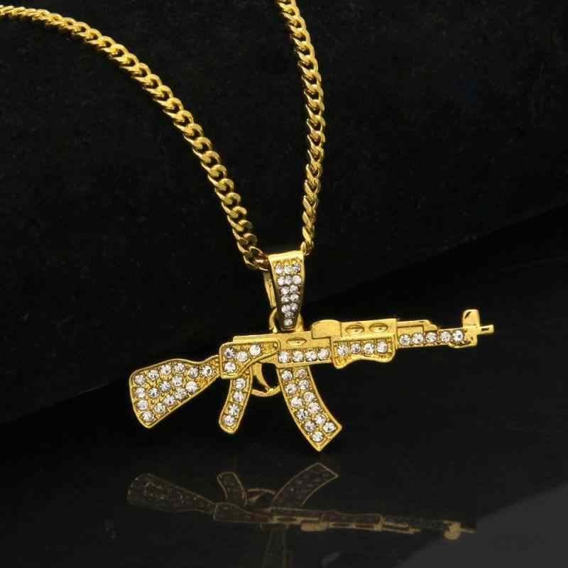 الإبداعية AK-47 الدائر مسدس رشاش على شكل الهيب هوب الذهب بندقية حجر الراين قلادة قلادة الكوبية سلسلة مجوهرات