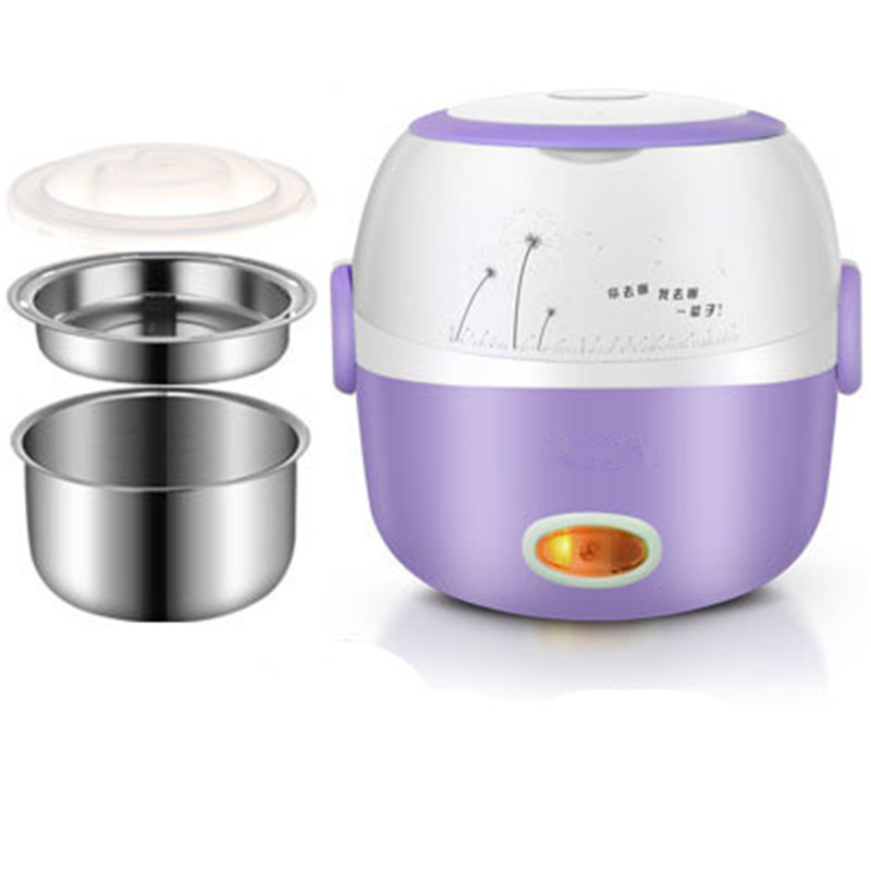 Lunch Box Heated Food Containers 110v 220v Electric Box Lunch Purple Container For Food Stainless Steel Bento Box Hot Pot