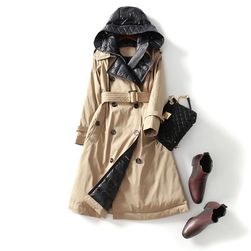 Fit -30℃ Winter Double Breasted Thick Warm Natural Duck Down Coats Female Oversized Parkas Hooded Long Warm Down Coat F760