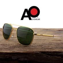 Pilot Sunglasses Men Tempered Glass Lens Top Quality Brand Designer AO Sun Glasses Male American Army Military Optical
