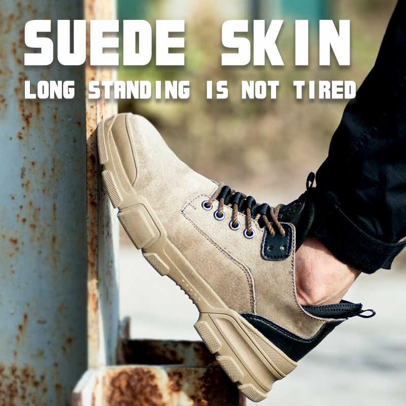 ฤดูหนาวผู้ชายทำงานทำลายรองเท้าสบายๆรองเท้าผ้าใบกลางแจ้งหลักฐานเจาะรองเท้าสบายอุตสาหกรรมรองเท้า