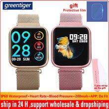 Greentiger P80 akıllı İzle kadınlar IP68 su geçirmez kalp hızı monitörü spor izci kan basıncı Smartwatch VS B57 P68 S226