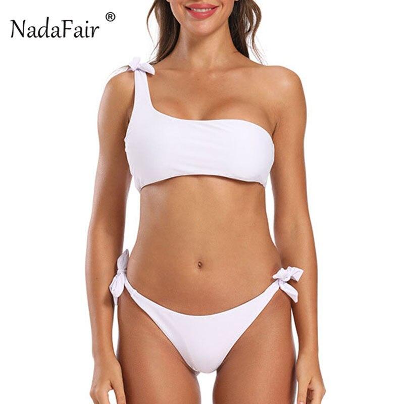 Nadafair One Shoulder Bikini Set 2020 Sexy Swimsuit Bikini Solid Lace Up Push-Up Summer Beach Wear Bathing Suit