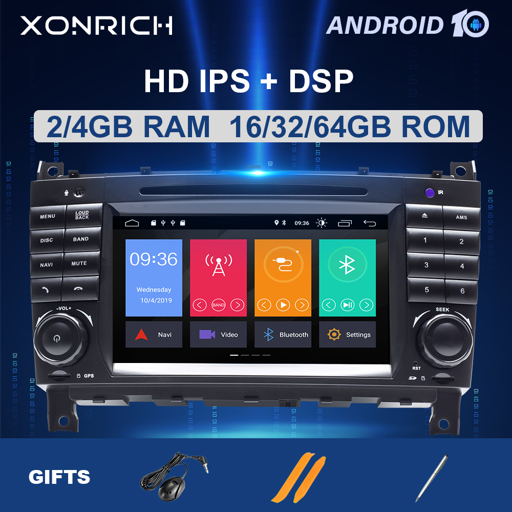 4G 64G 2 Din <font><b>Android</b></font> 10 Car DVD GPS For Mercedes/Benz <font><b>W203</b></font> W219 W169 A160 C180 C200 C230 C240 CLK200 CLK22 Multimedia radio image