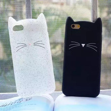 Cute 3D Silicone Cartoon Cat case For iphone 5s se 6 6s 11 7 8 plus Pink Black Soft fashion girl Cover For iPhone XR X XS Max(China)