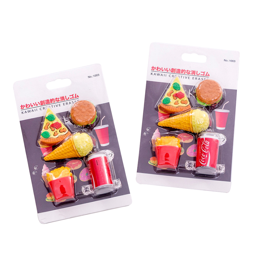 12packs/lot Kawaii Burger Cola Fast Food Rubber Eraser Office School Stationery Kids Writing Drawing Student Gift