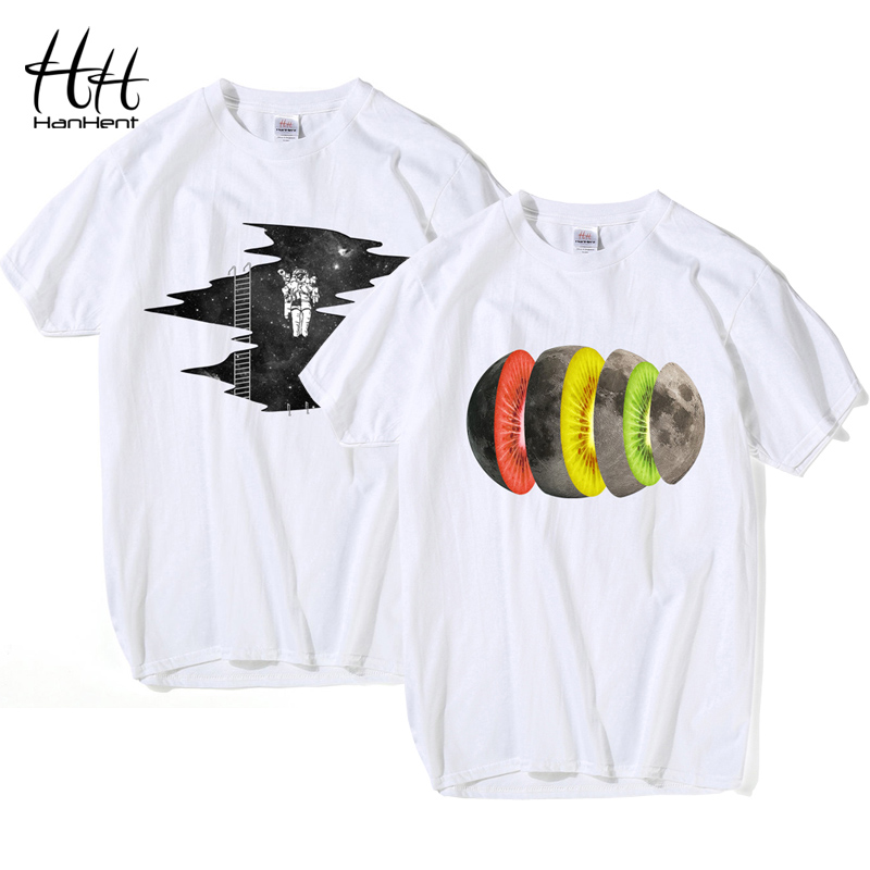 HanHent Creative Moon T-shirts Men Summer Cotton Short Sleeve Tops Funny T shirt 2018 Casual Clothes Tshirt harajuku Streetwear