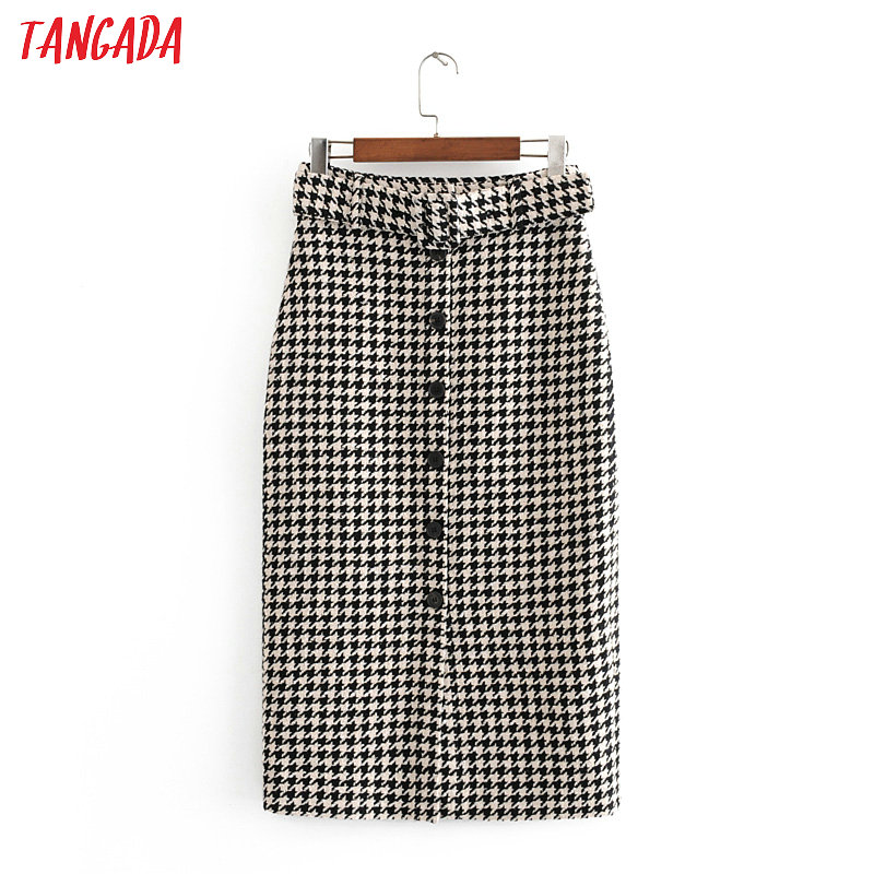 Tangada Women Elegant Plaid Tweed Midi Skirt With Belt 2019 Autumn Winter Fashion Office Ladies Work Skirts  3h182