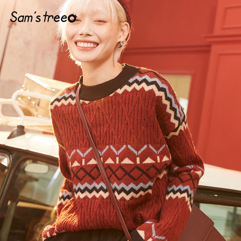 SAM'S TREE Red Geometric Vintage Christmas Knit Pullovers Women Sweaters 2020 Winter Beige Colorblock Striped Casual Female Top