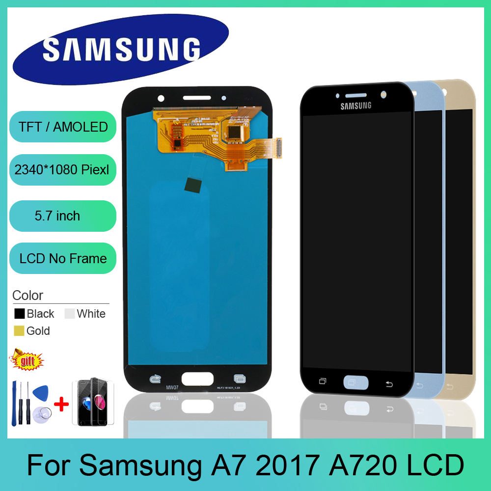 5.7 Inch A720 LCD For Pantalla Samsung A7 2017 A720F A720M SM-A720F LCD Display Touch Screen Digitizer Assembly Replacement