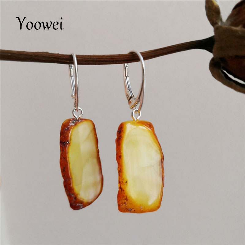 Yoowei Original Women Amber Earrings 2020 New Special Unique Luxurious Gift Baltic Natural Amber Dangle Ear Jewelry Wholesale
