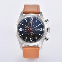New Parnis 42mm Quartz Chronograph Watch Men Top Brand Luxur