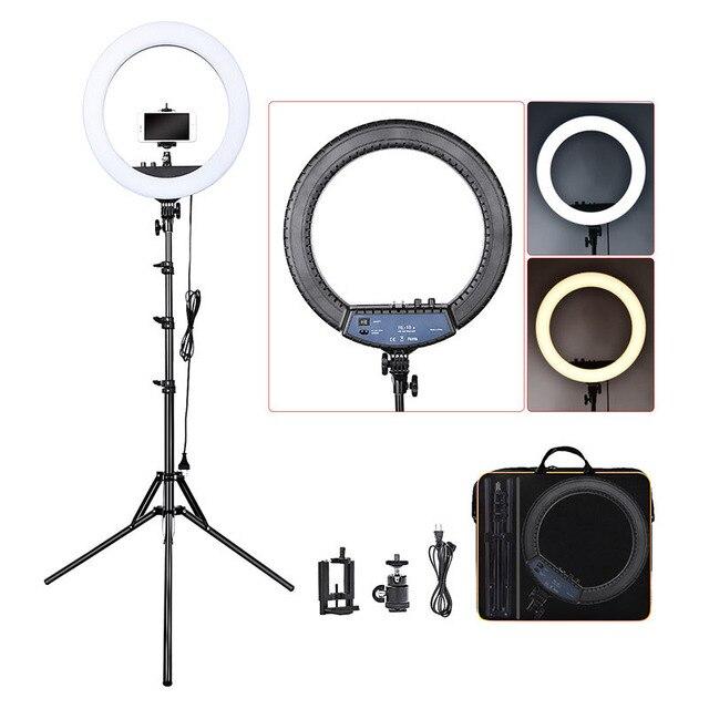 FOSOTO RL-18II iluminación fotográfica 3200K-5600K 512 Led anillo lámpara regulable Cámara fotografía de estudio con teléfono anillo de maquillaje trípode de luz