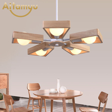 Country Style Wood Chandeliers LED Loft Decor Hanging Lamp for Foyer Living Room Hotel Cafe Restaurant Modern Wood Lamp creative living room rectangular lamp loft hotel office lighting simple modern personality industrial style art chandeliers led