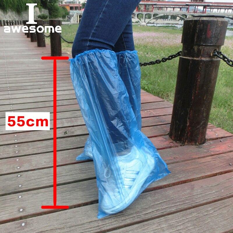5 Pairs Waterproof Thick Plastic Disposable Rain Polypropylene Shoe Covers High-Top Anti-Slip For Women Men Boot Wholesale